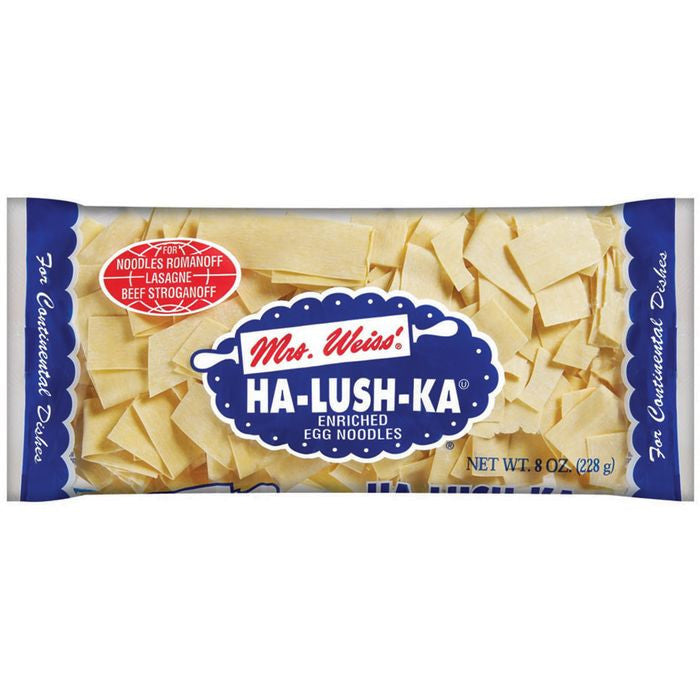 Mrs Weiss' Ha-Lush-Ka Egg Noodles 8 Oz Bag (Pack of 12)