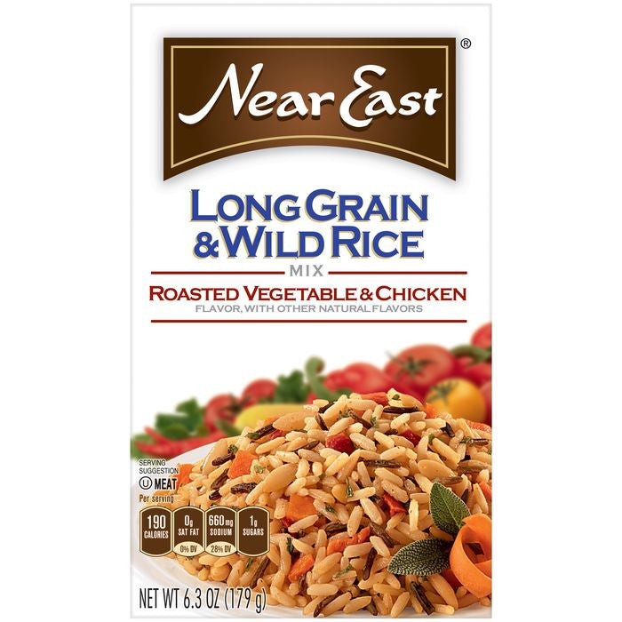 Near East Roasted Vegetable & Chicken Long Grain & Wild Rice Mix 6.3 Oz  (Pack of 12)