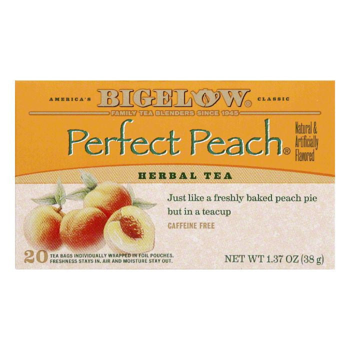 Bigelow Perfect Peach Herbal Tea, 20 BG (Pack of 6)