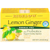 Bigelow Herb Plus Lemon Ginger Herbal Tea Bags 1.39 Oz  (Pack of 6)