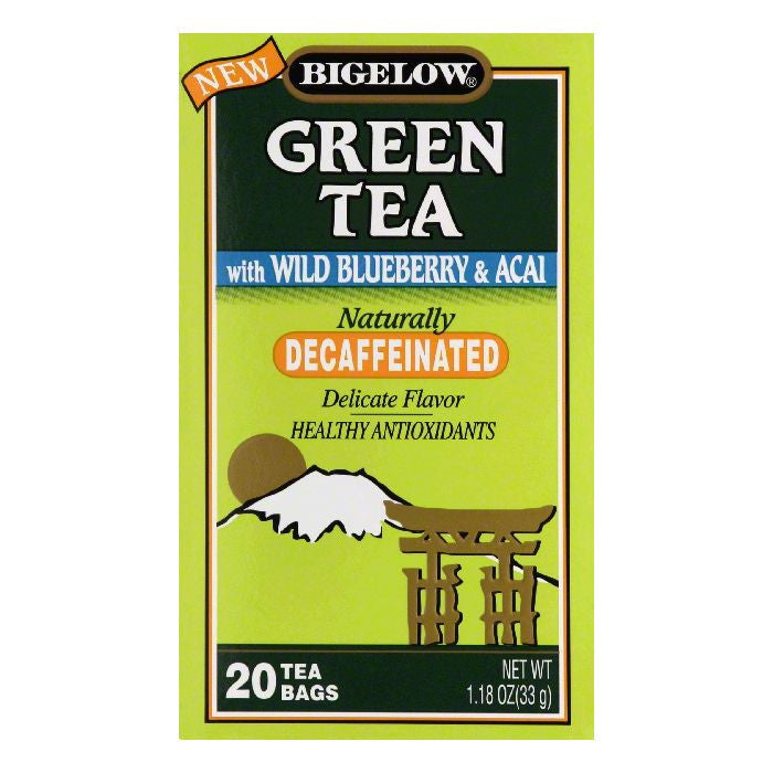 Bigelow with Wild Blueberry & Acai Decaffeinated Green Tea, 20 BG (Pack of 6)