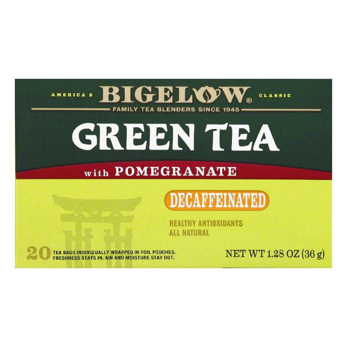 Bigelow with Pomegranate Naturally Decaffeinated Green Tea Bags, 20 BG (Pack of 6)