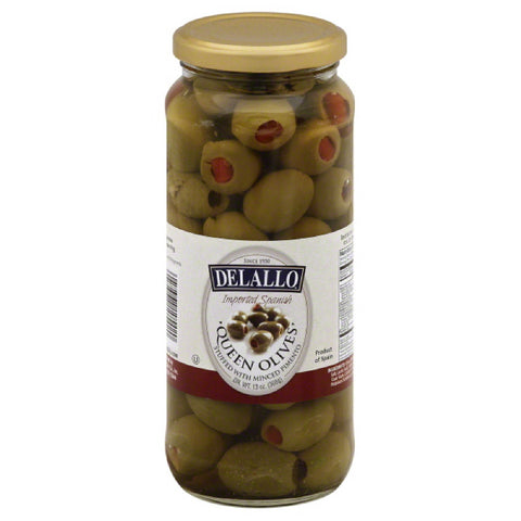 DeLallo Stuffed with Minced Pimento Queen Olives, 14 Oz (Pack of 6)
