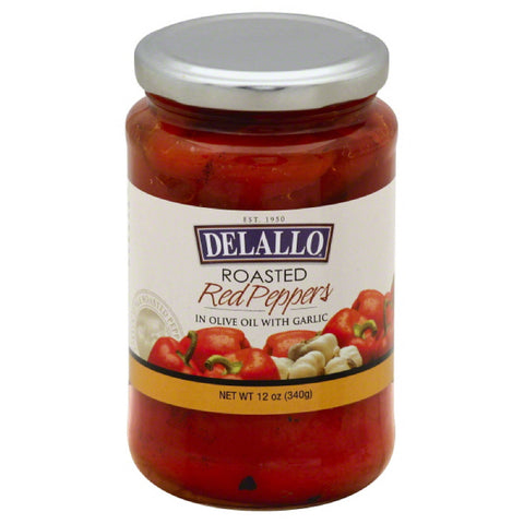 DeLallo Roasted Red Peppers in Olive Oil with Garlic, 12 Oz (Pack of 12)