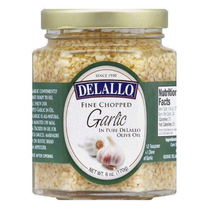 DeLallo Chopped in Olive Oil Garlic, 6 OZ (Pack of 12)