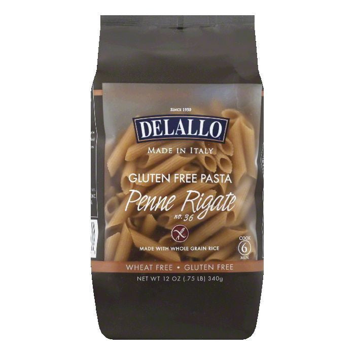 Delallo Wholegrain Penne Rigatone Pasta, 12 OZ (Pack of 12)