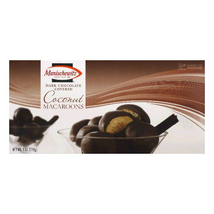 Manischewitz Dark Chocolate Covered Coconut Macaroons, 8 Oz (Pack of 12)