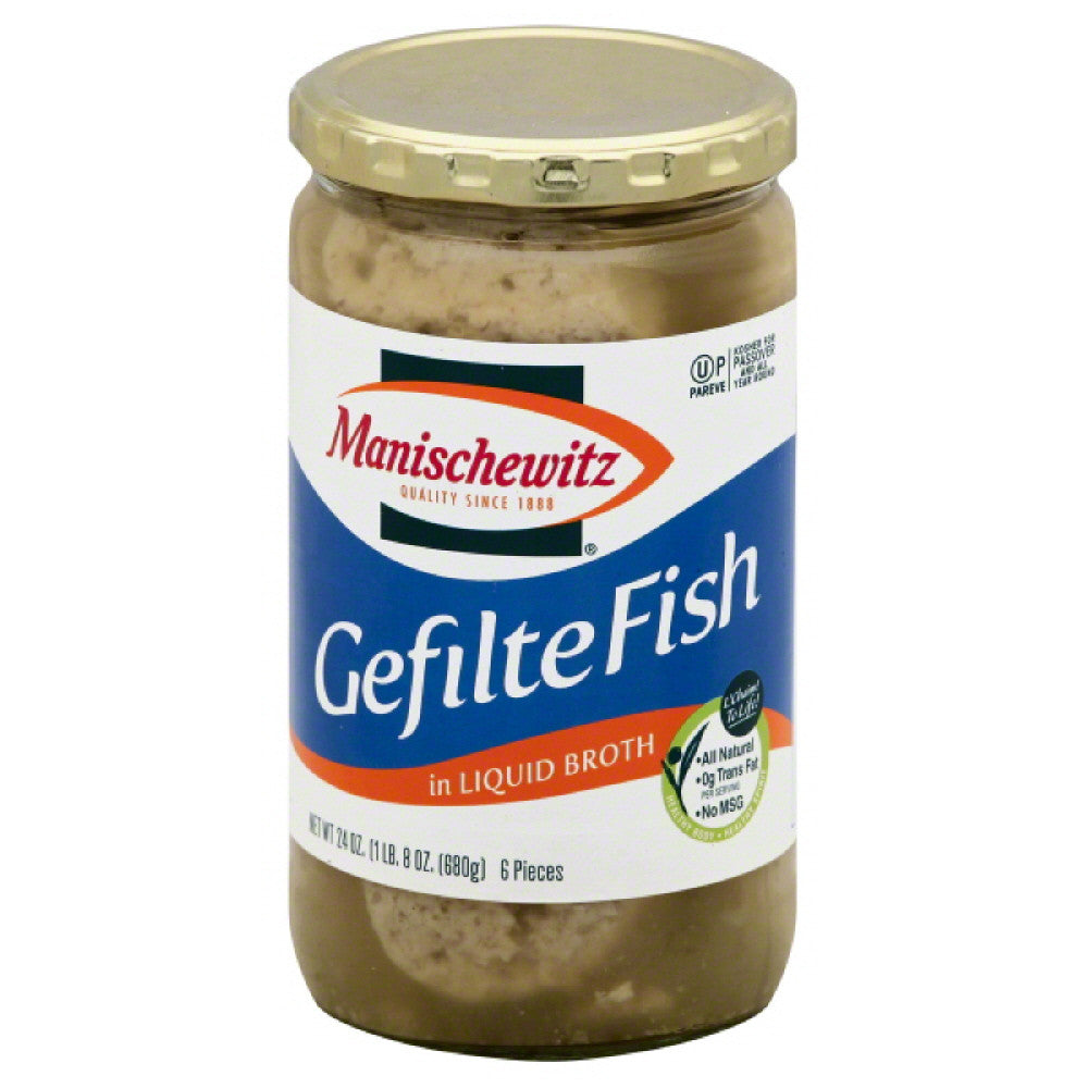 Manischewitz Gefilte Fish In Liquid Broth, 24 Oz (Pack of 6)