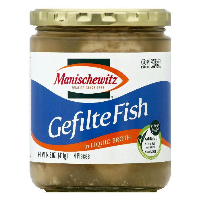 Manischewitz in Liquid Broth Gefilte Fish, 4 ea (Pack of 6)
