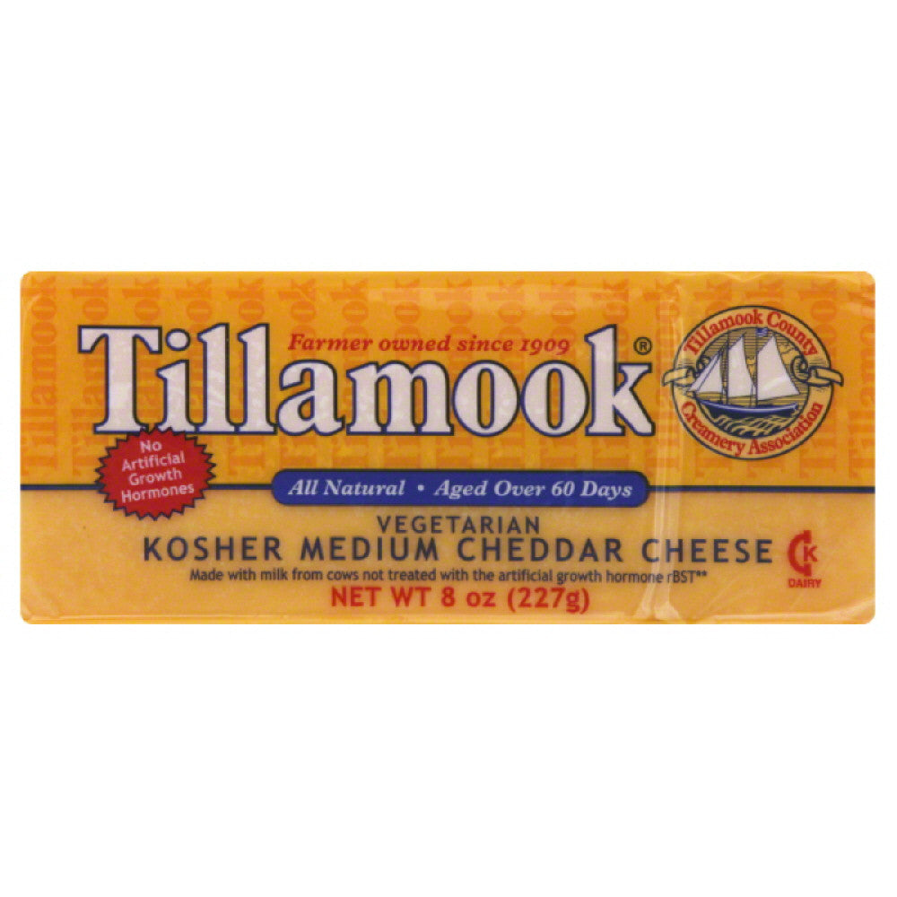 Tillamook Kosher Medium Cheddar Cheese, 8 Oz (Pack of 12)