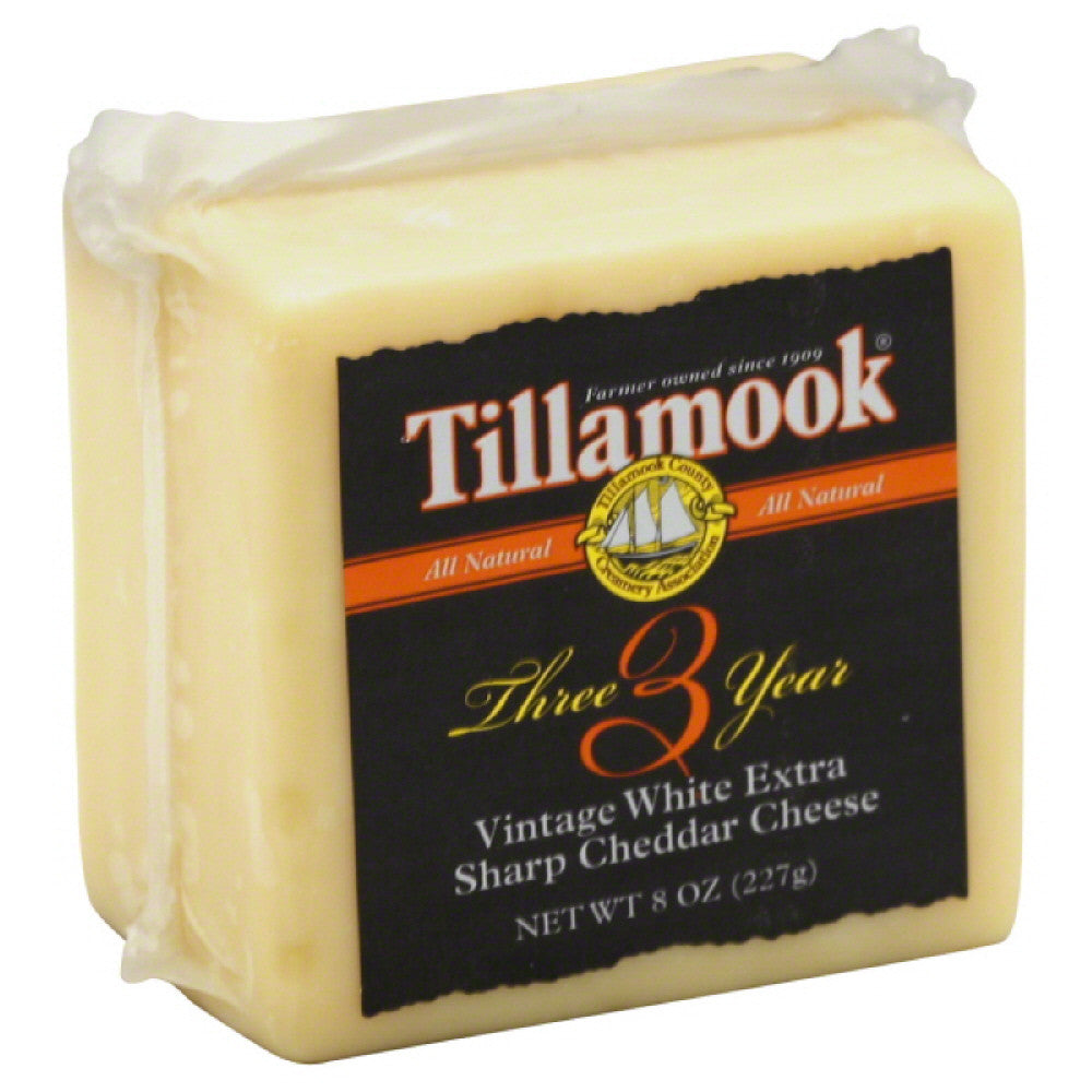 Tillamook Vintage White Extra Sharp Cheddar Cheese, 8 Oz (Pack of 12)