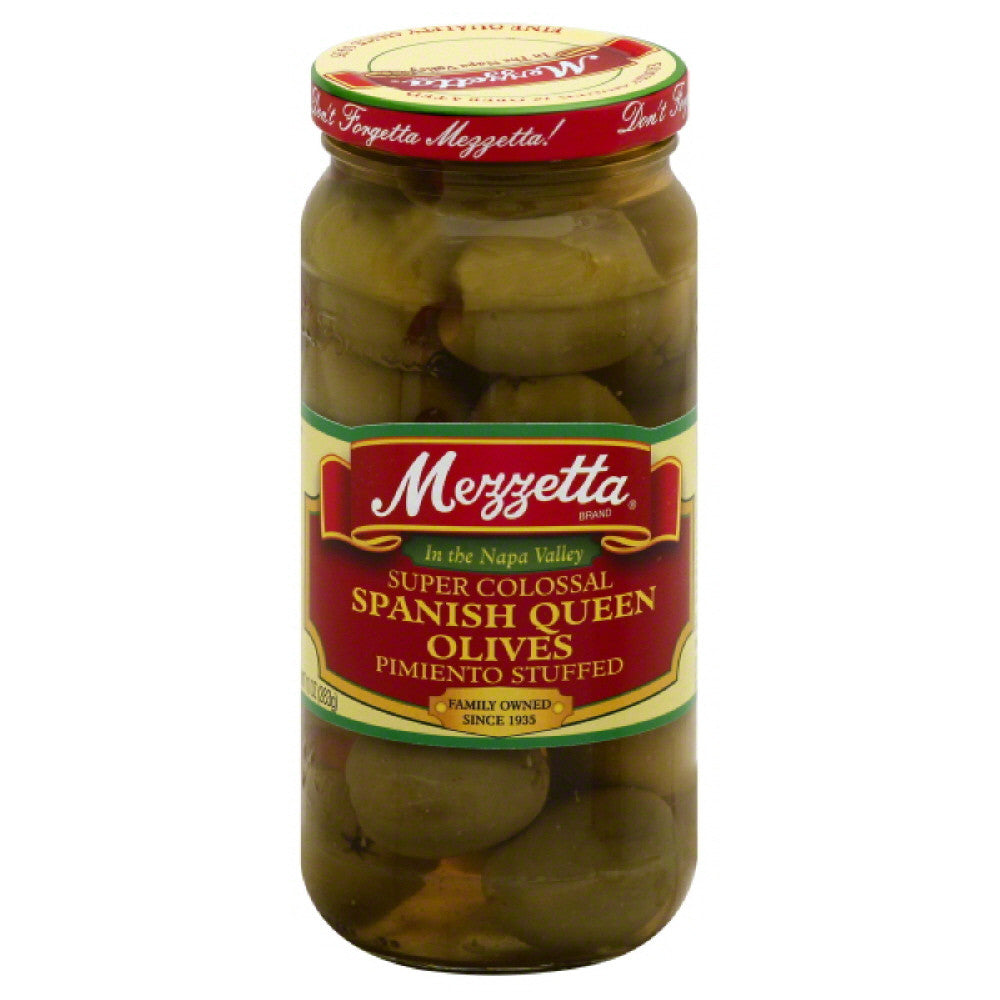 Mezzetta Pimiento Stuffed Super Colossal Spanish Queen Olives, 10 Oz (Pack of 6)
