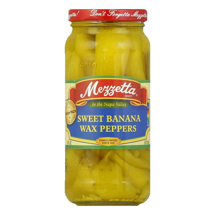 Mezzetta Sweet Banana Wax Pepper, 16 OZ (Pack of 6)