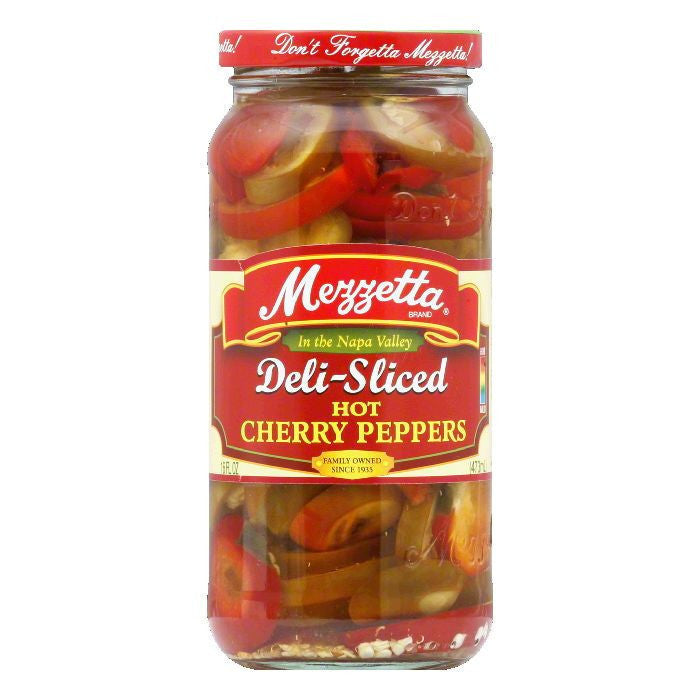 Mezzetta Cherry Peppers Sliced Hot, 16 OZ (Pack of 6)
