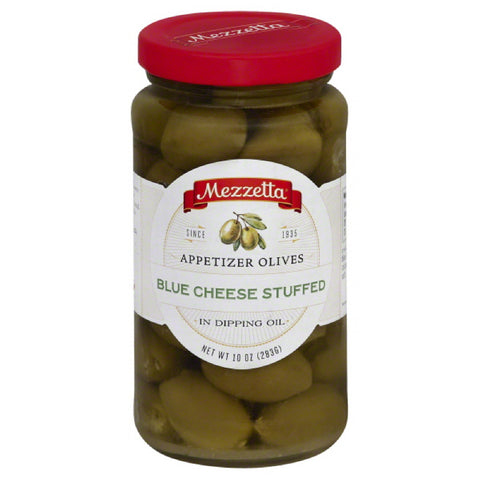 Mezzetta Appetizer Blue Cheese Stuffed Olives in Dipping Oil, 10 Oz (Pack of 6)