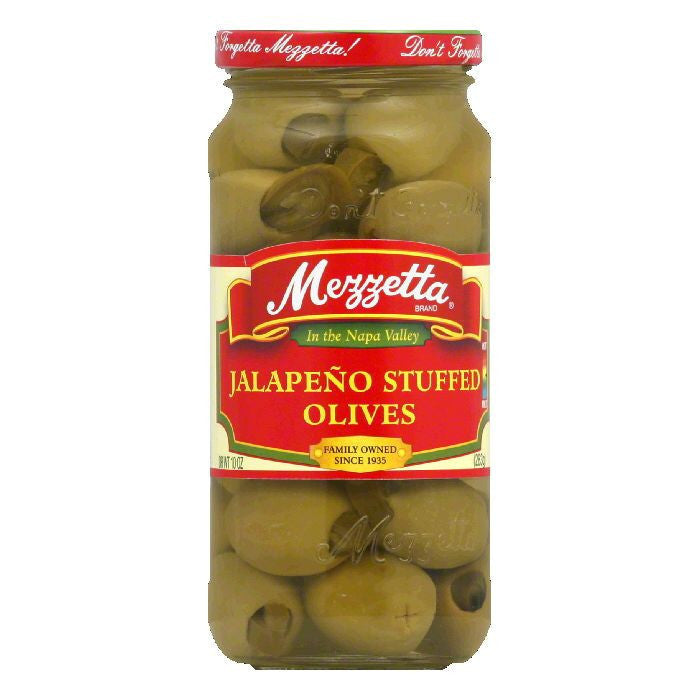 Mezzetta Jalapeno Stuffed Olives, 10 OZ (Pack of 6)