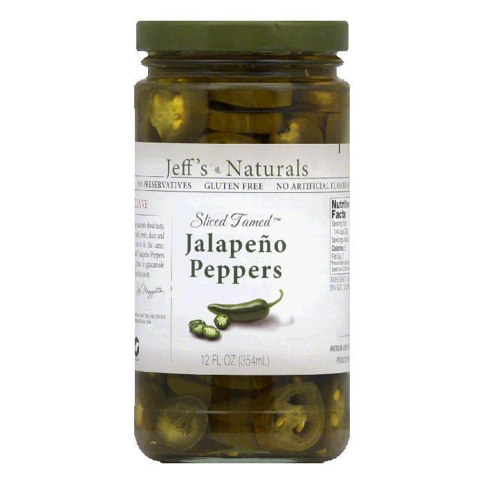 Jeffs Naturals Sliced Tamed Jalapeno Peppers, 12 Oz (Pack of 6)
