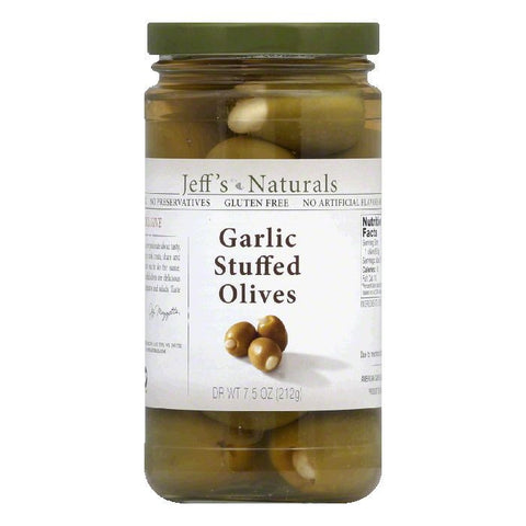 Jeffs Naturals Garlic Stuffed Olives, 7.5 Oz (Pack of 6)
