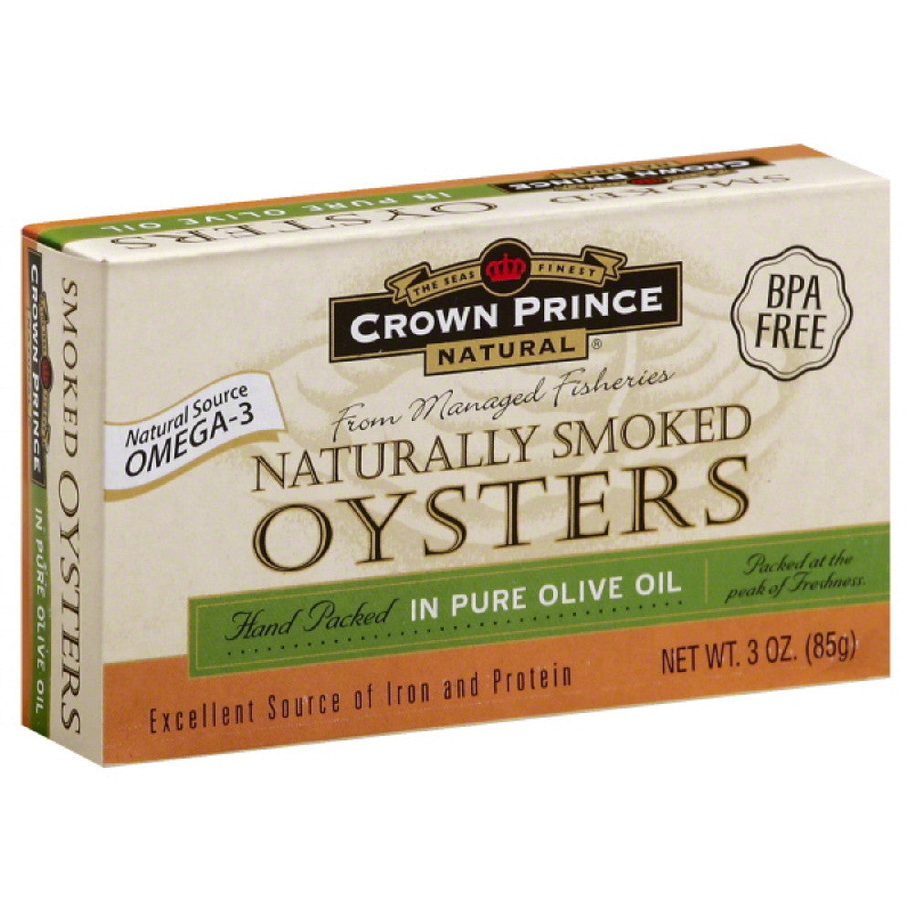 Crown Prince Naturally Smoked Oysters in Pure Olive Oil, 3 Oz (Pack of 18)