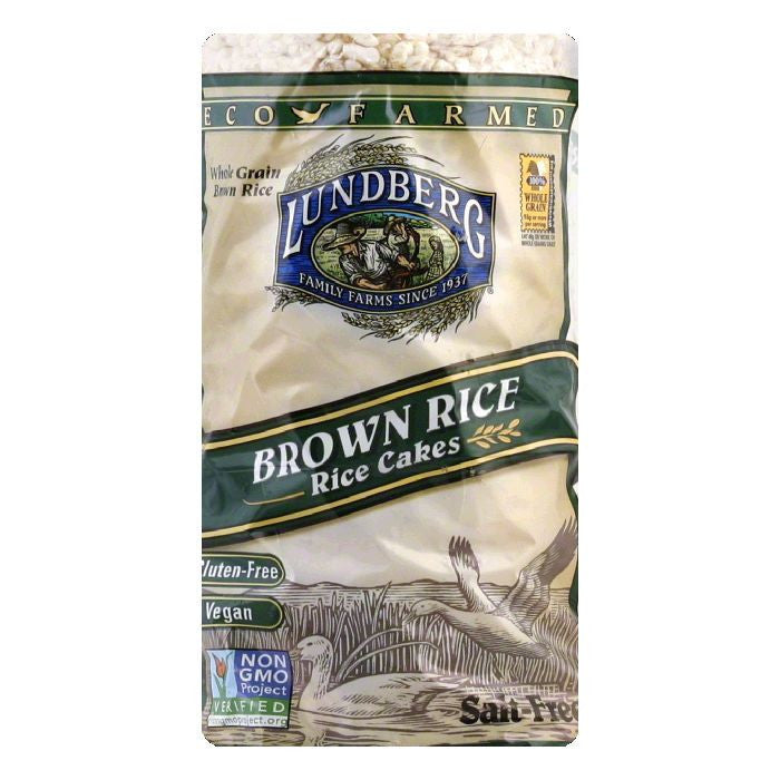 Lundberg Gluten Free Rice Cakes Eco-Farmed Brown Unsalted, 8.5 OZ (Pack of 12)