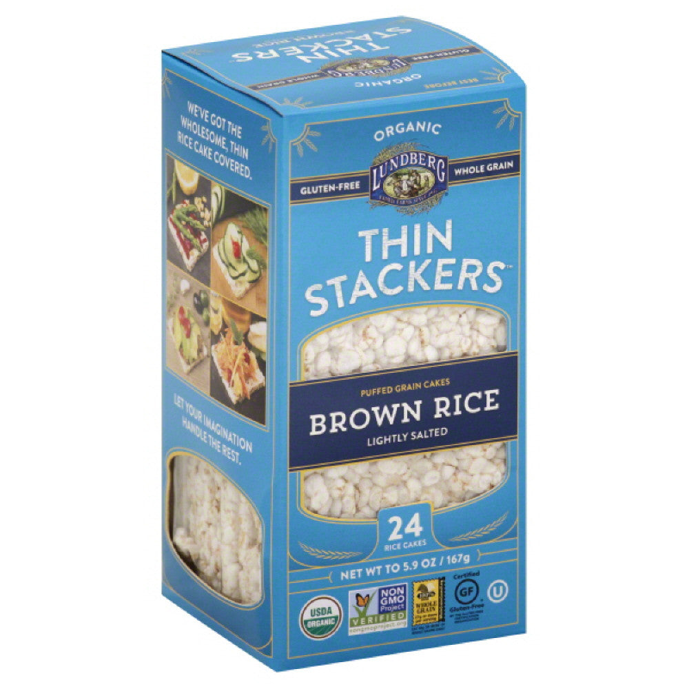 Lundberg Lightly Salted Brown Rice Thin Stackers Rice Cakes, 5.9 Oz (Pack of 12)