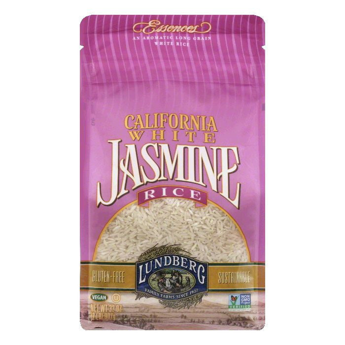 Lundberg Gluten Free Rice Eco-Farmed California Jasmine White, 32 OZ (Pack of 6)