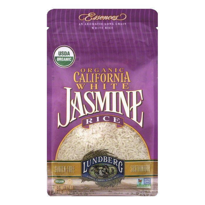 Lundberg Gluten Free Rice Organic California White Jasmine, 2 LB (Pack of 6)