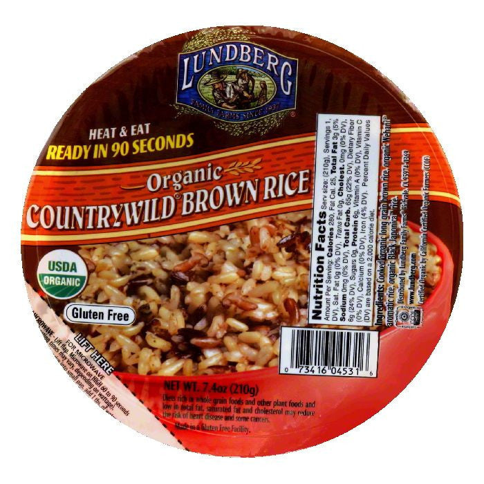 Lundberg Gluten Free Countrywild Brown Rice Heat and Eat Bowl, 7.4 OZ (Pack of 12)