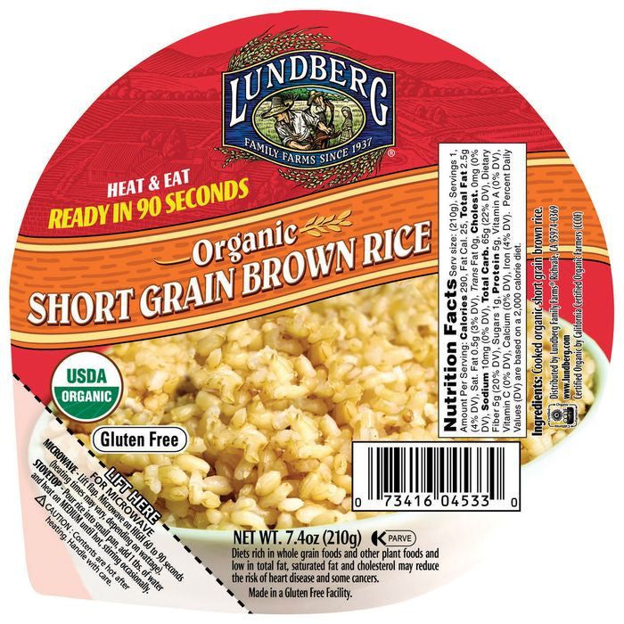 Lundberg Family Farms Og Short Brown Rice Bowl Organic Heat & Eat Brown Rice Bowls 7.4 Oz Microwave Bowl (Pack of 12)