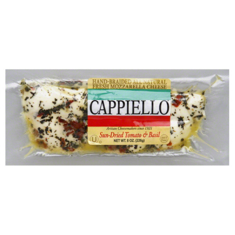 Cappiello Sun-Dried Tomato & Basil Mozzarella Cheese, 8 Oz (Pack of 6)