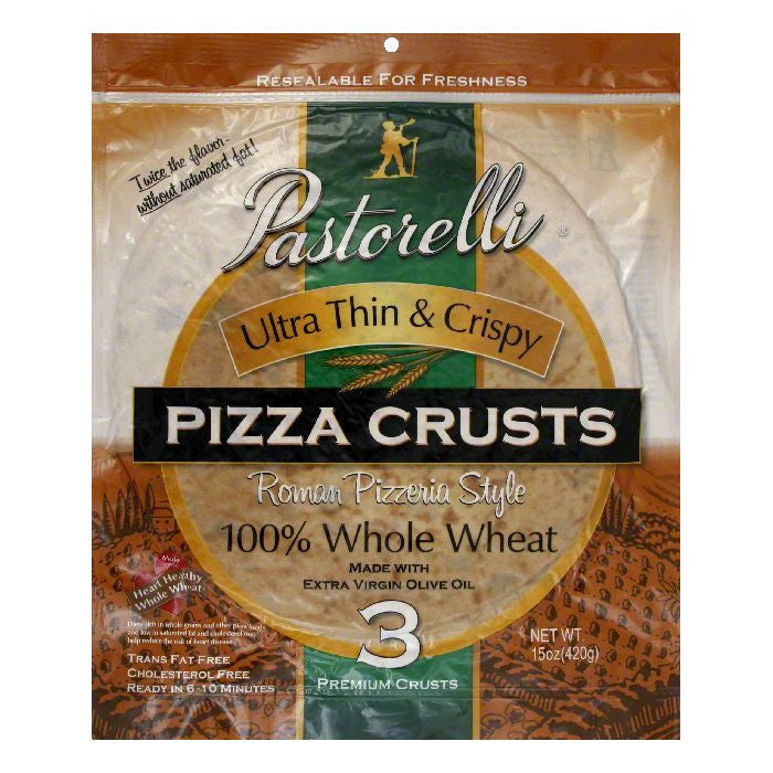 Pastorelli 100% Whole Wheat Ultra Thin & Crispy Roman Pizzeria Style Pizza Crust, 15 Oz (Pack of 6)