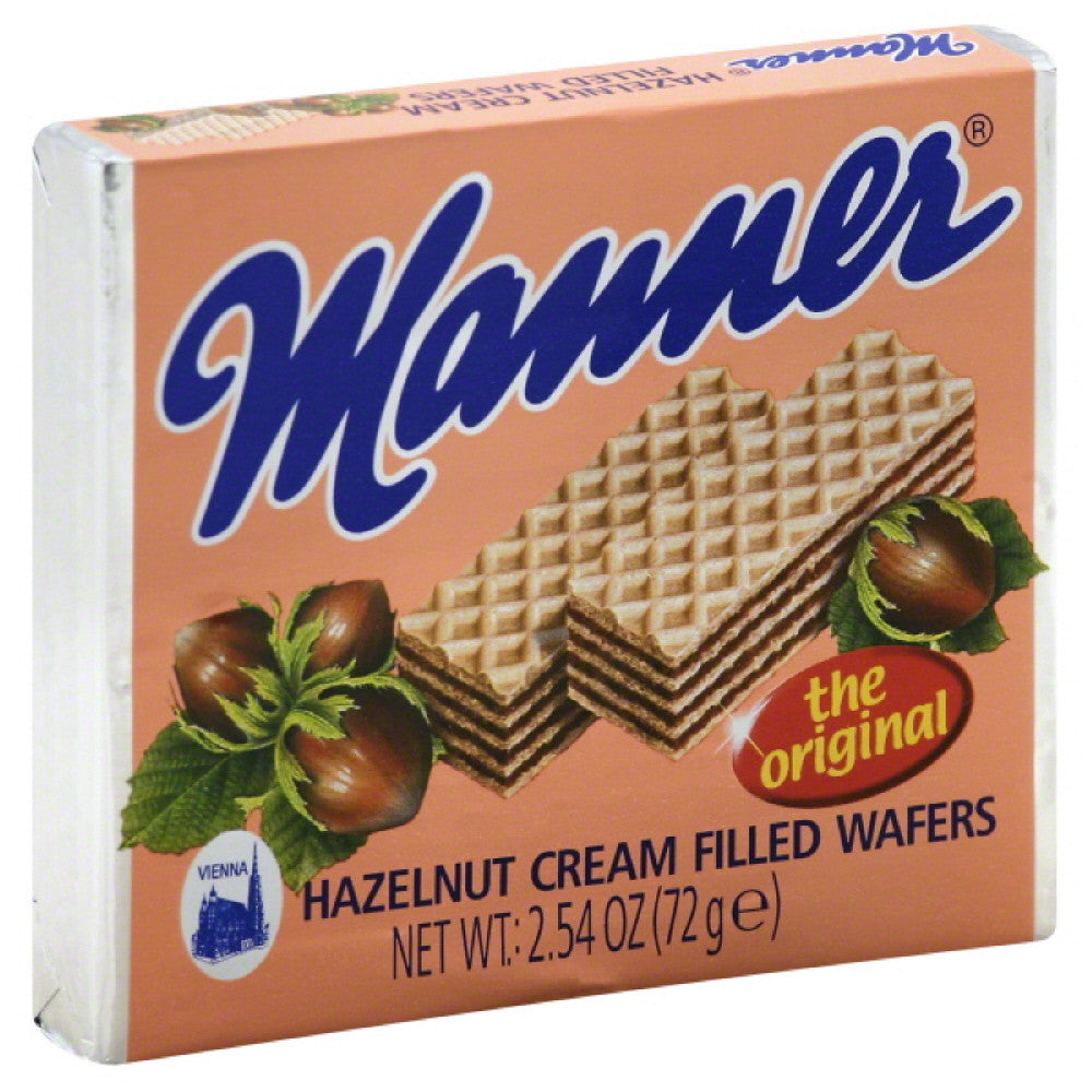 Manner Hazelnut Cream Filled Wafers, 2.54 Oz (Pack of 12)