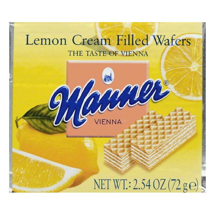 Manner Lemon Cream Filled Wafers, 2.54 OZ (Pack of 12)