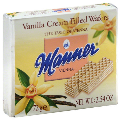 Manner Vanilla Cream Filled Wafers, 2.54 Oz (Pack of 12)