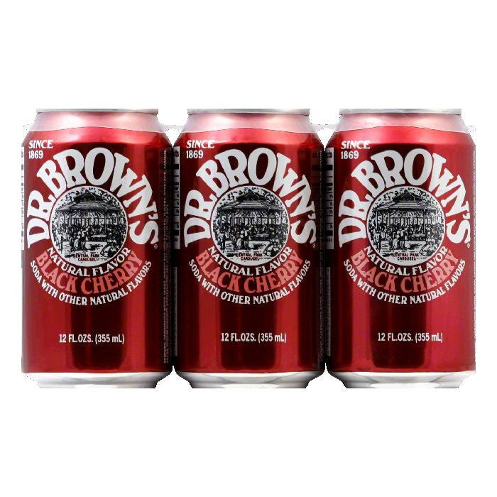 Dr. Brown Soda Black Cherry 6 pack, 72 FO (Pack of 4)