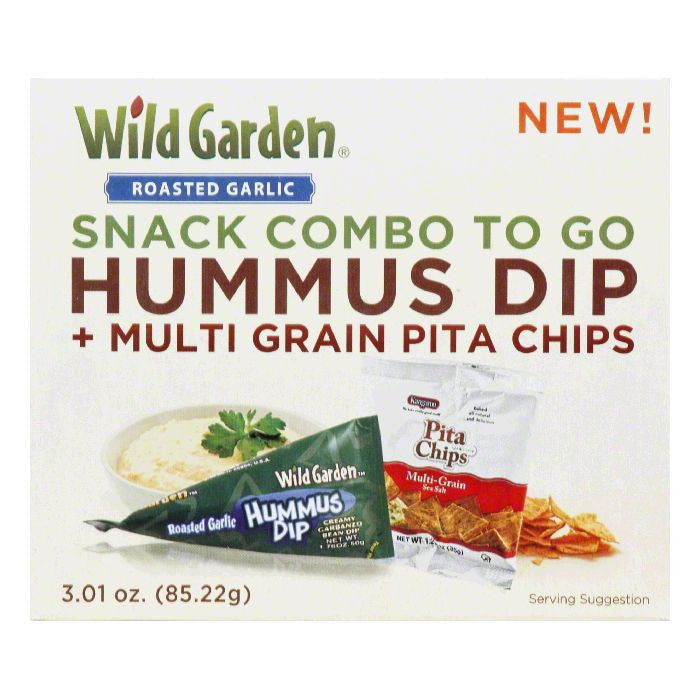 Wild Garden Garlic & Pita Chips Hummus, 3.01 OZ (Pack of 6)