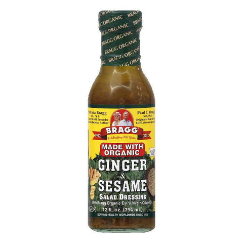 Bragg Organic Ginger & Sesame Salad Dressing, 12 OZ (Pack of 6)