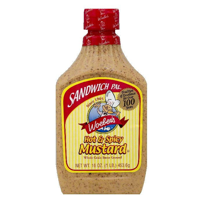 Woebers Hot & Spicy Mustard, 16 OZ (Pack of 6)