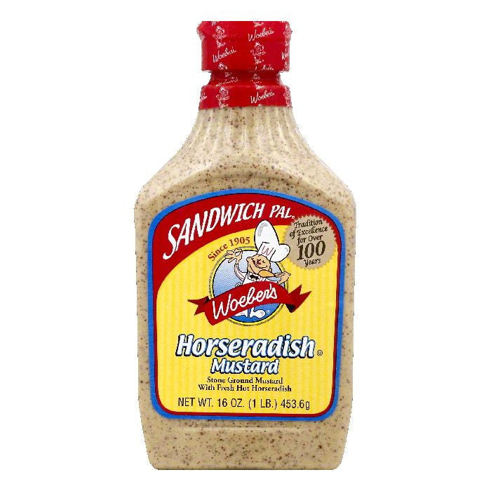 Woebers Horseradish Mustard, 16 OZ (Pack of 6)