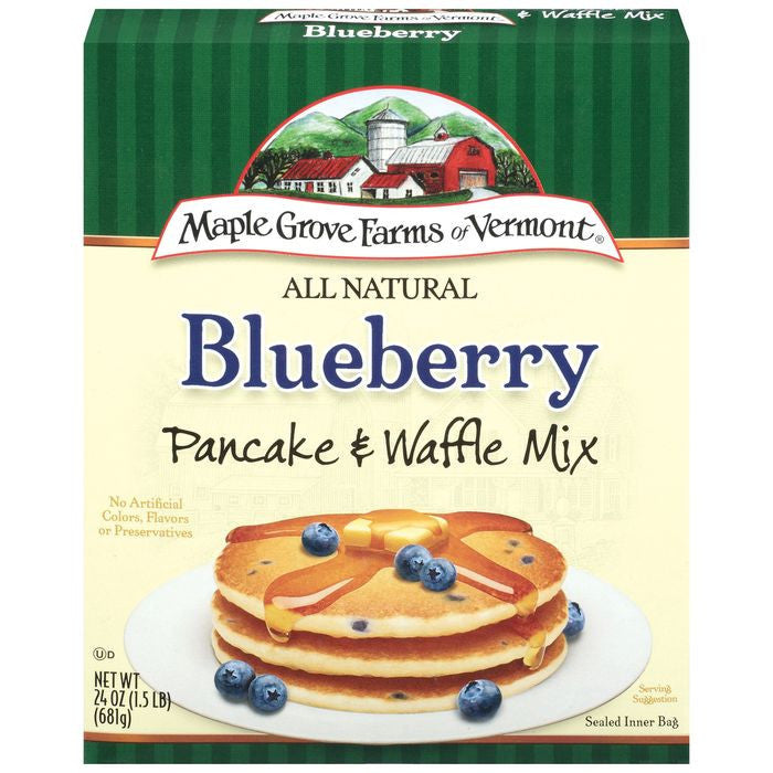 Maple Grove Farms Blueberry Pancake & Waffle Mix 24 Oz  (Pack of 6)