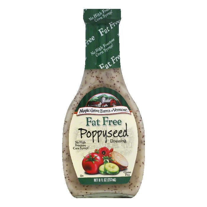Maple Grove Farms Dressing Poppyseed Fat Free, 8 OZ (Pack of 6)