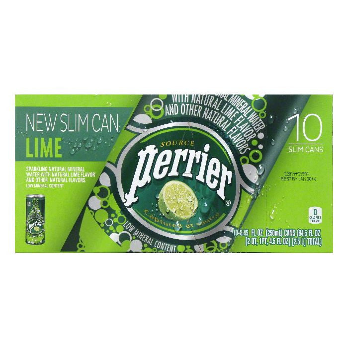 Perrier Slim Cans Lime Sparkling Natural Mineral Water, 84.5 FO (Pack of 3)