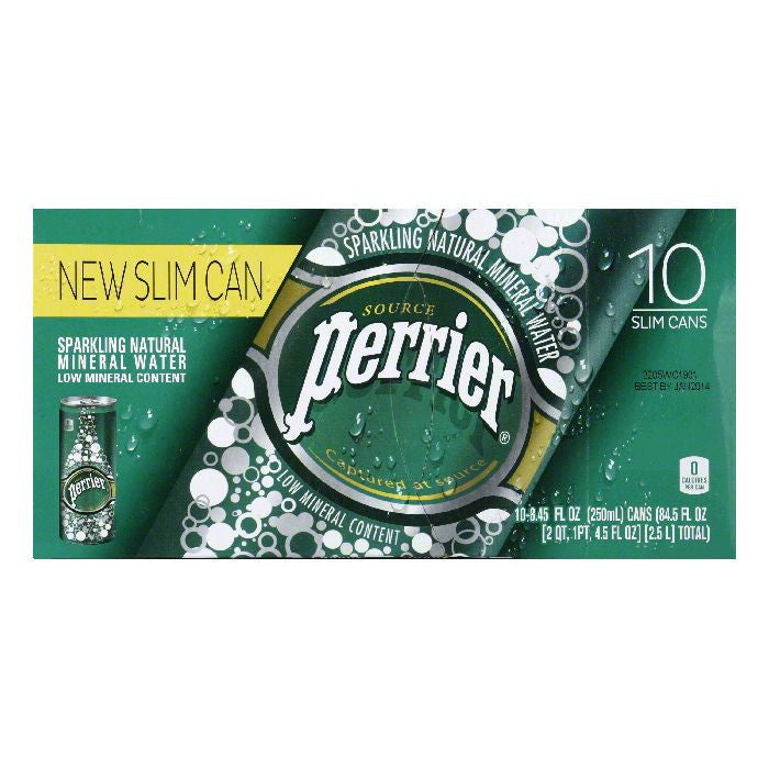Perrier Slim Can Sparkling Natural Mineral Water, 84.5 FO (Pack of 3)