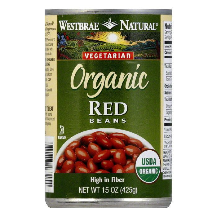 Westbrae Beans Red Fat Free Organic, 15 OZ (Pack of 12)