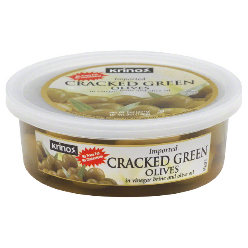 Krinos Cracked Green Olives, 8 Oz (Pack of 12)