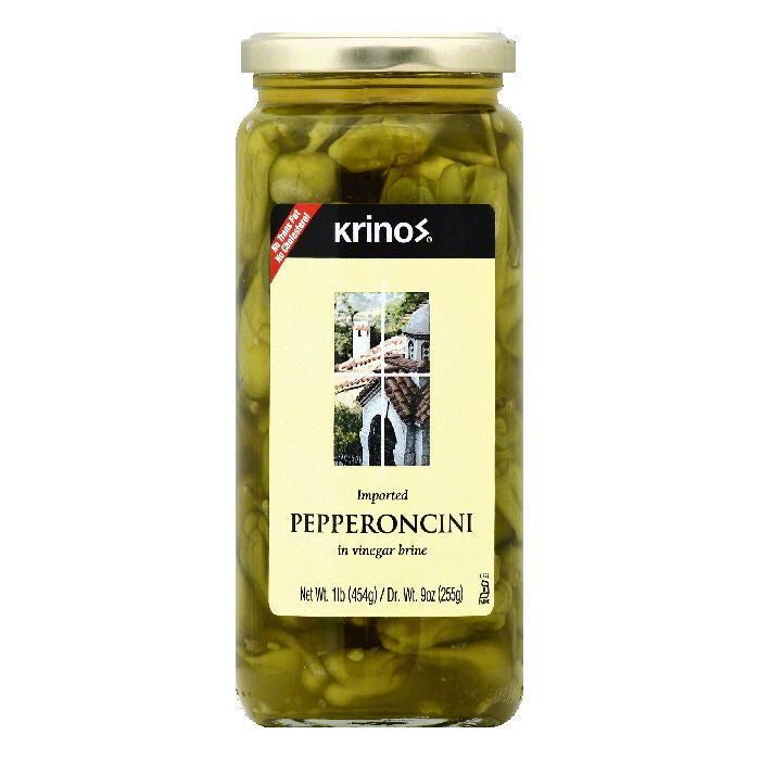 Krinos in Vinegar Brine Pepperoncini, 1 lb (Pack of 6)