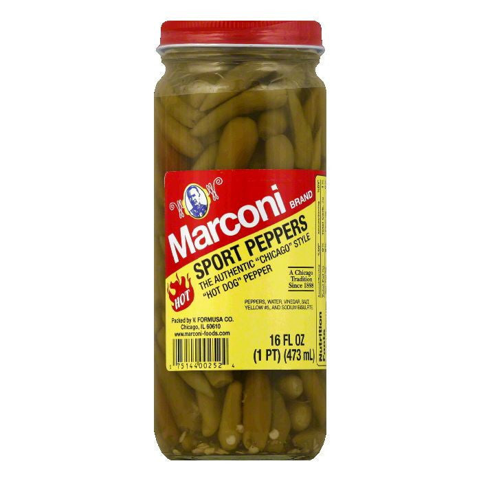 Marconi Whole in Vinegar Sport Peppers, 16 OZ (Pack of 6)