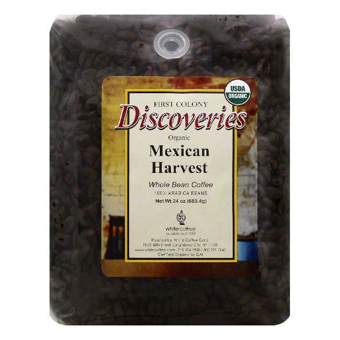 First Colony Discoveries Mexican Harvest Whole Bean Organic Coffee, 24 OZ (Pack of 4)