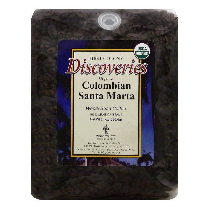 First Colony Discoveries Colombian Santa Marta Whole Bean Organic Coffee, 24 OZ (Pack of 4)