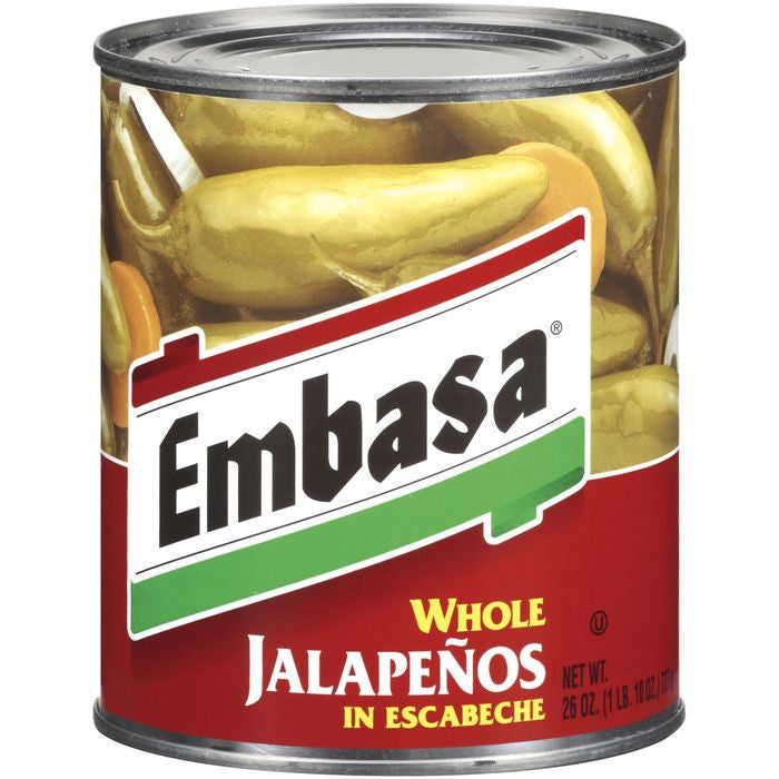 Embasa Whole Jalapenos in Escabeche 26 Oz  (Pack of 6)